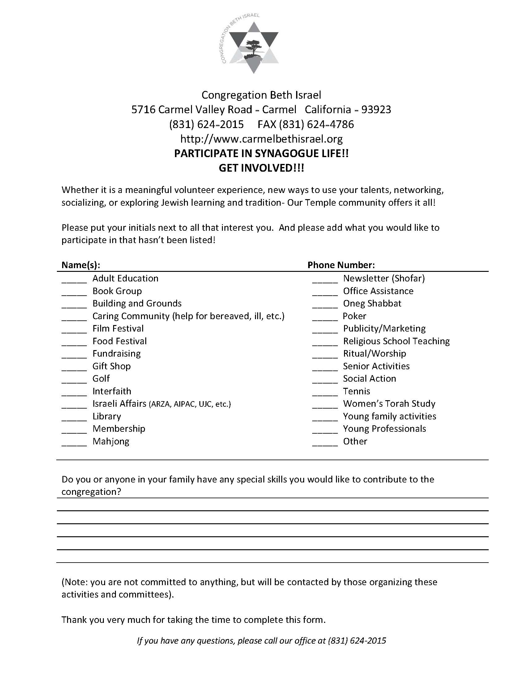 PARTICIPATE IN SYNAGOGUE LIFE Page 1